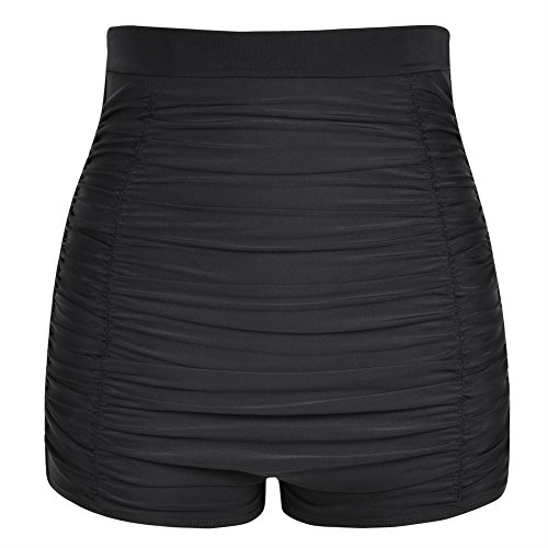 Firpearl Women's High Waisted Bikini Bottom Retro 50s Ruched Swimsuit Bottom 8 Black