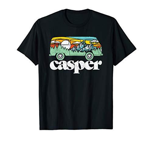 Retro Casper WY Hippie Van Mountains Trees & Sun Graphic T-Shirt