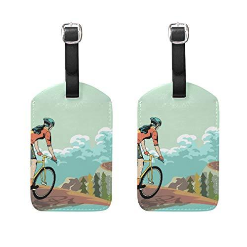 Etiqueta de Equipaje para Bicicleta de montaña (2 Unidades, con Etiqueta identificadora para el Nombre de la dirección, para Llevar en la Maleta de Viaje)