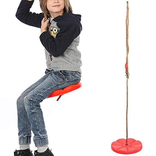 Alomejor Kinderscheibe Schaukel Outdoor Indoor Schaukel Plastikscheibe Kletterschaukelfür Gartenspielplatz Camping Spielzeug(rot)