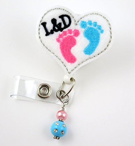 Labor and Delivery Baby Feet Heart - Nurse Badge Reel - Retractable ID Badge Holder - Nurse Badge - Badge Clip - Badge Reels - Pediatric - RN - Name Badge Holder