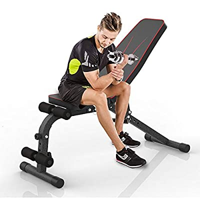 JUFIT Workout Bench Foldable & Adjustable Fitness Training Weight Bench for Full Body Workout, Sit Up Bench with 9 Back Pad Positions And 4 Leg Heights from JUFIT