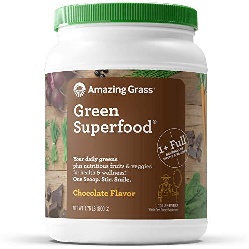 Amazing Grass Green Superfood: Super Greens Powder with Spirulina, Chlorella, Digestive Enzymes & Probiotics, Chocolate, 100 Servings