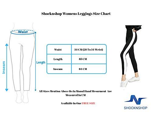 Shocknshop Women's High Waisted Stretch Wide Stripe Ankle-Length Mid Waist Skinny Bottoms Casual Leggings (LEG38 , Free Size; Black)