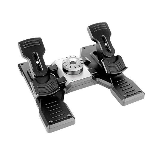 Logitech G Saitek Pro Flight Rudder Pedals, Pedale mit Zehenbremse zur Rudersteuerung für Flug Simulatoren, Rutschfest, Präzise, Verstellbares Spannungsrad, USB-Anschluss, PC, Schwarz