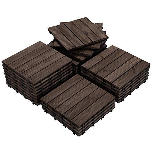 Yaheetech 27PCS Interlocking Wooden Flooring Patio Deck Tiles Solid Wood Tiles Outdoor 12 x 12in Black