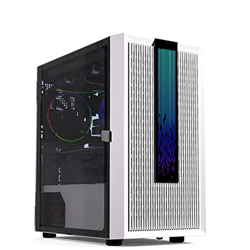 Caja para juegos de PC de torre media ATX totalmente transparente-Puerto USB 3.0 de E / S frontal-Panel lateral de vidrio templado-Iluminación RGB integrada-Listo para refrigeración por agua-Blanco
