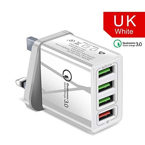 YHML 4-Port USB Ladegerät, Europäischer Standard Britisches Und Amerikanisches Handy Ladegerät QC3.0 Ladegerät/Reiseladegerät Schnellladung Für Samsung S8 S7, Millet, LG, HTC,D