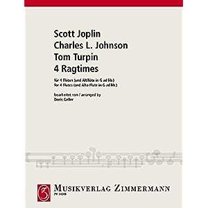 4 Ragtimes: von Scott Joplin, Charles L. Johnson und Tom Turpin. 4 Flöten (und Altflöte in G ad libitum). Partitur und Stimmen.