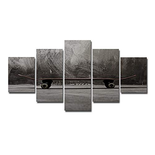 Cuadro En Lienzo Impresión de Imagen Artística patineta Cuadros Modernos 5 Piezas Murales Decoración Arte De La Pared del Hogar Regalos creativos (Enmarcado) 100x55 cm