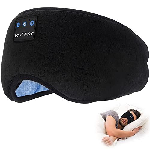 Bluetooth Sleep Eye Mask Wireless Headphones, TOPOINT Cotton Sleeping Eye Cover Travel Bluetooth Music Headsets with Microphone Handsfree, Long Play Time, Black (Bluetooth Sleep Mask-Black)