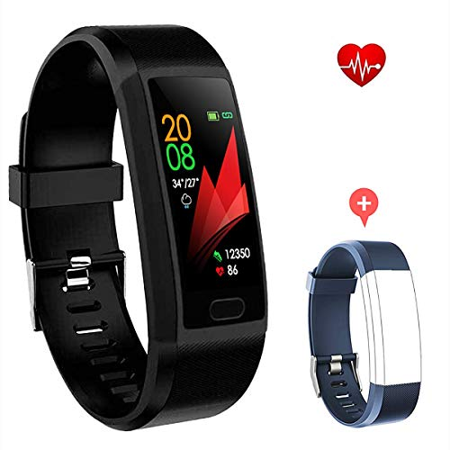 F-FISH Fitness Tracker Monitor de frecuencia cardíaca, Smart Watch Fitness Tracker Watch Hombres Mujeres Smart Watch Muñeca Heart Rate Monitor Podómetro Smart Band Sports Activity Tracker (Negro)