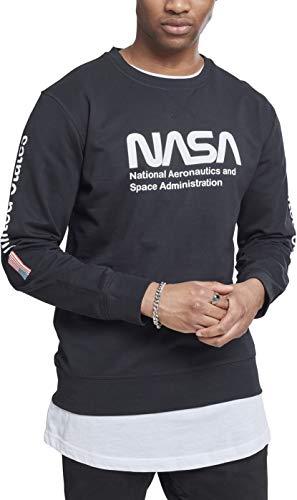 Mister Tee NASA Us Crewneck suéter, Negro (Black 00007), Large para Hombre