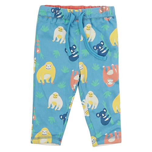 Piccalilly Pantalon réversible bébé + enfant en coton biologique imprimé orang-outan bleu pour garçons et filles - Multicolore - 24 mois