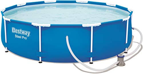 Bestway Steel Pro Frame Pool, rund 305x76 cm Stahlrahmenpool-Set mit Filterpumpe, blau