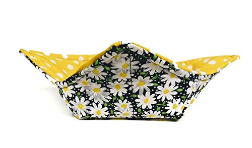White Daisy Polka Dot quilted cotton reversible microwavable soup bowl holder or cozy
