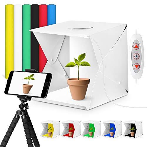 Fotostudio YOUTHINK Foto Zelte Mini Foto Studio Faltbare Portable Licht einstellbar 40x40x40cm mit LED Beleuchtung,Handy Stativ, 6 Farbhintergründe