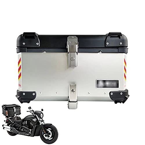 HGTRH Baul Moto Universal con Respaldo, Maletas Aluminio Moto con Base Incluida Y Desenganche Rápido, 55L-Plata Cajon De Moto, Cofre Moto Aluminio para Motocicleta Ciclomotores Scooter