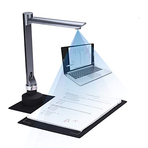 Document Camera for Teachers Laptop, 5 Mega-Pixel HD Real-time Projector USB Portable Scanner with Video Recording A4 Format OCR Multi-Language Recognition for Classroom Distance Learning Office