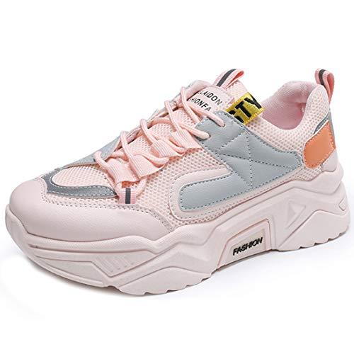 Zapatillas de deporte para mujer con altura para mujer, botas de fútbol, zapatillas de senderismo, zapatillas deportivas 35-40, color Rosa, talla 40 EU