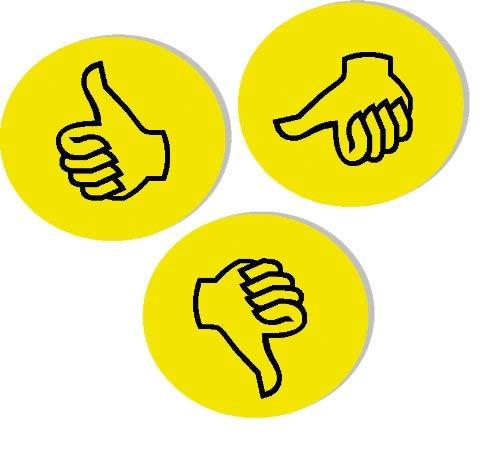 Franken GmbH UMZWS Wertungssymbol Daumen (Durchmesser 9.5 cm) 100 Stück, gelb