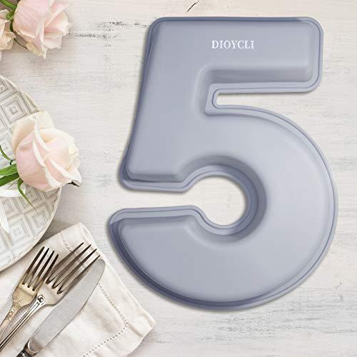 Stampo per torta grande numero per la cottura Stampi per numeri in silicone Stampi per torte Stampo per torta in silicone 3D Stampo per pane da forno fai da te A forma di grandi numeri 5