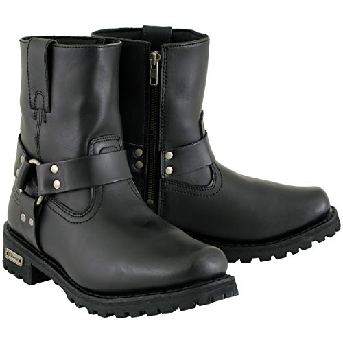 Xelement 2502 'Shorty' Women's Black Zipper Harness Motorcycle Leather Boots - 8.5