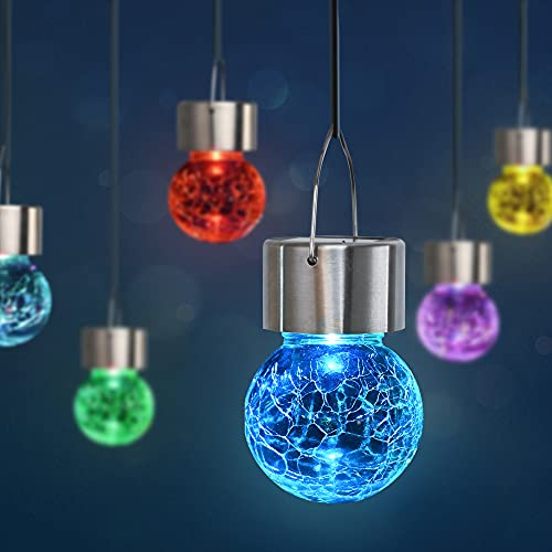 GIGALUMI 8 Pack Hanging Solar Lights, Christmas Decoration Lights with Multi-Color Changing Cracked...