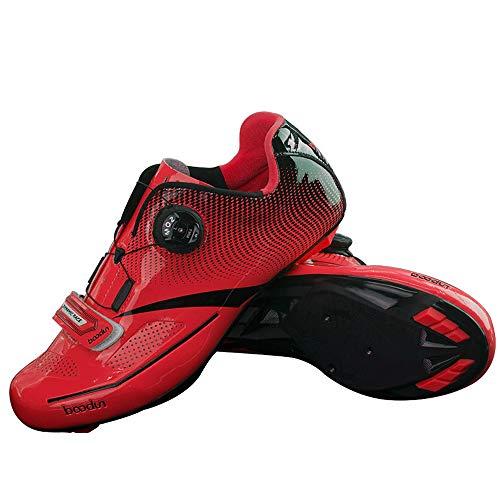 LNVRIDS - Scarpe Professionali girevoli per Mountain Bike e Bici da Strada, Rosso (Bicicletta da Strada Rossa.), 41 EU