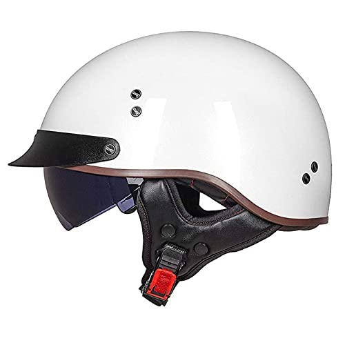 JLLXXG Casco de Choque de Moto de Cara Abierta Casco de Motocicleta Retro de Media Cara Casco de Moto Jet con Visera de Sol Casco de Medio tazón para niños, jóvenes, Hombres, Mujeres