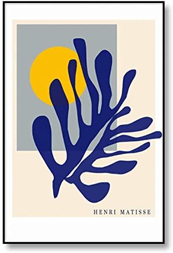 YaShengZhuangShi Pintura de Arte 50x70cm Sin Marco Cartel Abstracto de Matisse Sol Azul Coral Arte de la Pared Henri Matisse Planta de Coral Azul Sala de Estar Cartel nórdico Decoración del ho