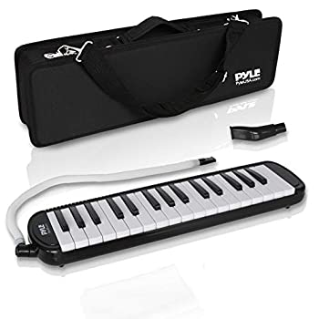 Professional Mouth Piano Melodica Instrument - Mouth Keyboard Piano Organ Melodica Set w/Mouthpiece Tube Accessories for Beginner or Band - Pyle  Black
