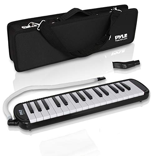 Professional Mouth Piano Melodica Instrument  Mouth Keyboard Piano Organ Melodica Set w/Mouthpiece Tube Accessories for Beginner or Band  Pyle Black