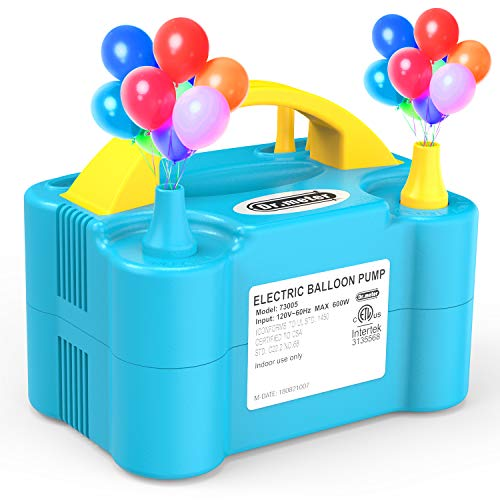 Dr.meter Pompa Elettrica, Pompa Elettronica di Gonfiaggio Doppio Soffiatore, Pompa Portatile per Feste, Nozze, Compleanni, attività promozionali e Decorazioni di Festival (Blu + Giallo)