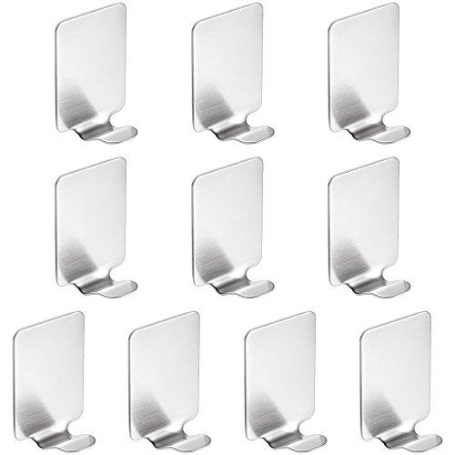 Rovtop 10 Stück selbstklebend Haken Wasserdichte 304 Edelstahl Haken für Küche Badetücher etc. Silber