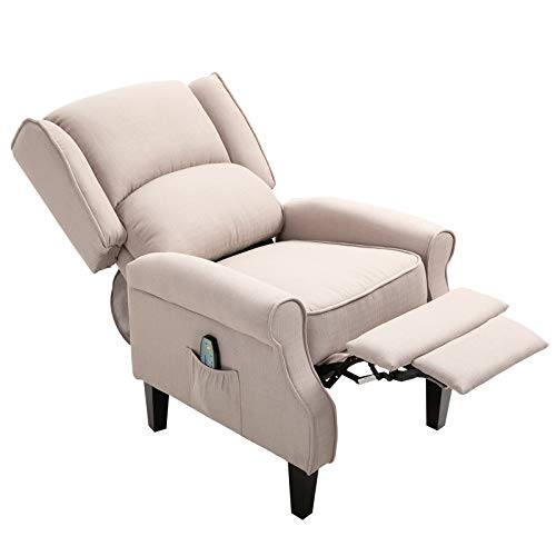 HOMCOM Wingback Heated Vibrating Accent Sofa Vintage Linen Fabric Massage Recliner Chair Push-Back with Remote Controller - Beige