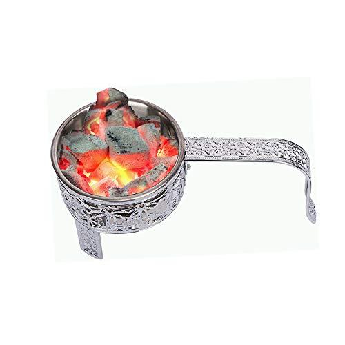 RMAN® Shisha Kohlekorb Kohlebehälter für Wasserpfeifen-Kohle Holzkohlekörbe mit Griff Shisha Zubehör Silber