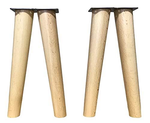 patas para muebles madera haya. Patas cónicas con inclinación, y placa de montaje ya instaladas. 25 cm alto color natural (25 cm natural)