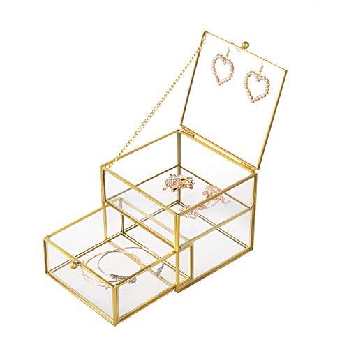 Feyarl Schmuckschatulle Glas Terrarium Box für Ringe Ohrringe Ketten Schmuckkasten Schmuck-Organizer mit Schubladen