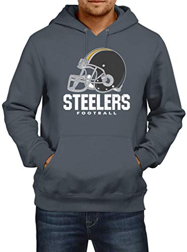 Shirt Happenz Steelers American Football Pittsburgh Any Given Sunday Hoodie Herren Kapuzenpullover, Größe:L, Farbe:Dunkelgrau