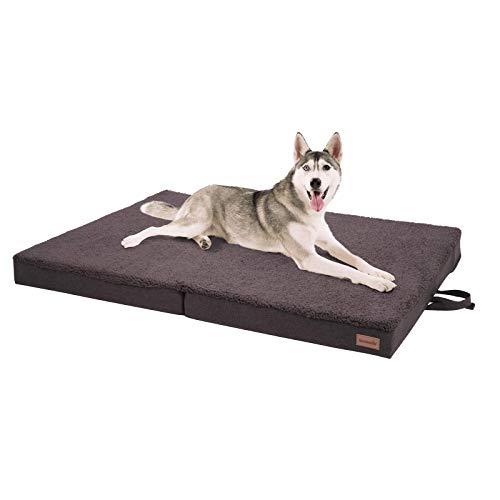 brunolie Paco klappbares Hundebett in Braun, waschbar, orthopädisch und rutschfest, Hundekissen mit atmungsaktivem Memory-Schaum, Größe XL 120 x 85 cm