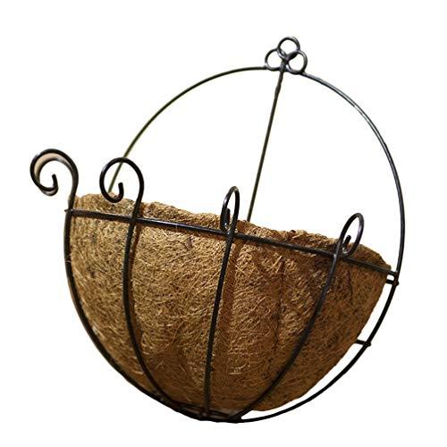 DOITOOL 14 Zoll Eisen Wandbehang Pflanzer Korb Halbrunde Pflanze Blume Wandhalter mit Kokos Kokos Liner Pflanzen Kleiderbügel Dekoration für Garten Veranda Balkon