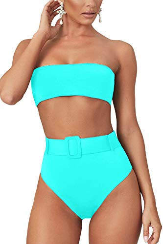 LEISUP Sexy Tube Top Swimsuit for Womens Two Piece High Waist Strapless Bikini,Turquoise S