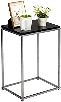"""Black End Table 20.8"""" Couch Table Sofa Side Table, Wood Coffee Table Snack Table Tea Table for Living Room Bedroom Office, Bedside Table Nightstand for Bedroom, Small End Tables for Small Spaces"""
