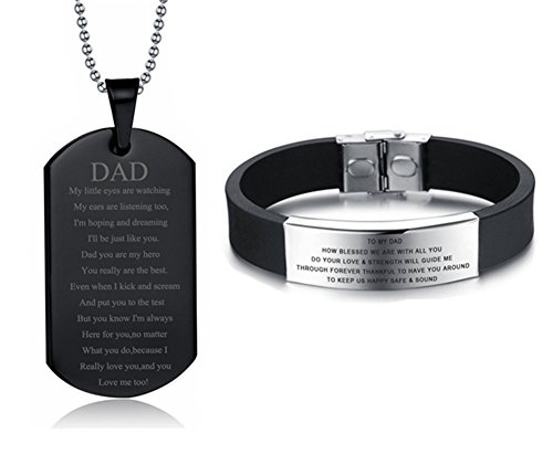 LF Stainless Steel Personalized Daddy's Dog Tag Necklace Silicone Bracelet for Dad Sentimental Engraved Jewelry Sets Fathers Day Birthday Gift from Daughter Son Kids,Free Engraving Customised