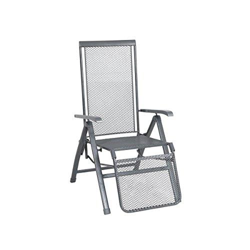 greemotion Relaxsessel Toulouse Premium eisengrau, Stuhl mit 5-fach verstellbarer Rückenlehne und Fußteil, kunststoffummanteltes Stahlgestell, witterungsbeständig und pflegeleicht