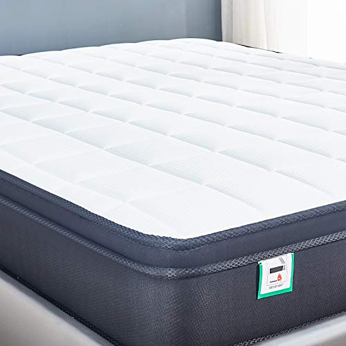 Cool Blue Memory Foam Hybrid Sprung Mattress with Breathable Fabric with Springs,10 Inch Depth Medium firm feel Upgraded Pillow Top Collection /30 Days Risk-Free Nights Trial (5FT King 153*198*24cm)
