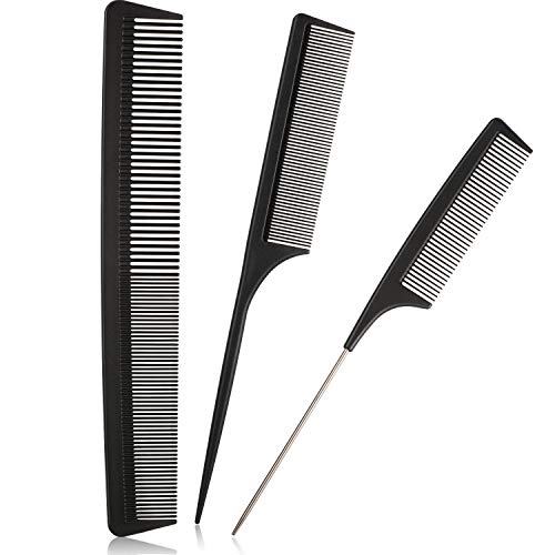 3 Pieces Tail Combs Set Carbon Styling Comb Fiber Rat Tail Comb Anti Static Heat Resistant Barber Hairdressing Comb Steel Pintail Comb Cutting Fine Tooth Comb Teasing Hair Comb for Women Men, Black