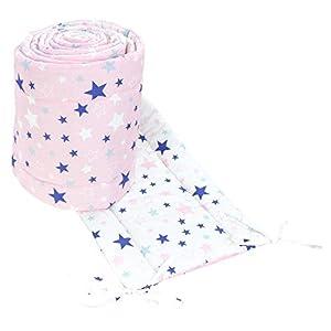 TupTam Protector Acolchado para Cama de Bebé Largo, Estrellas Rosa/Azul Oscuro, 360x30 cm (Cuna 120x60 cm)