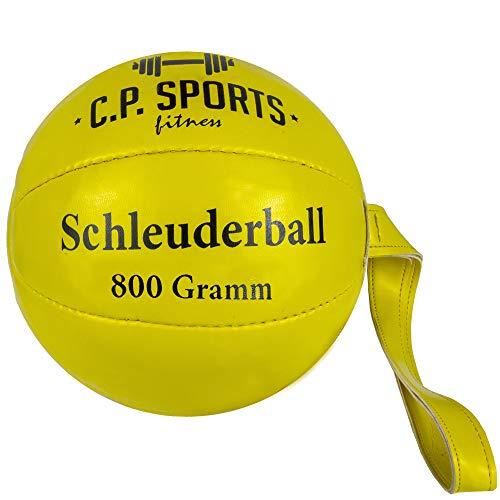 C.P.Sports Medizinball oder Schleuderball – Synthetisches Leder – Sport, Training, Fitness, Freizeit, Wettkampf – Ball, Schlagball, Werfen – Schleuderball Neongelb 800g